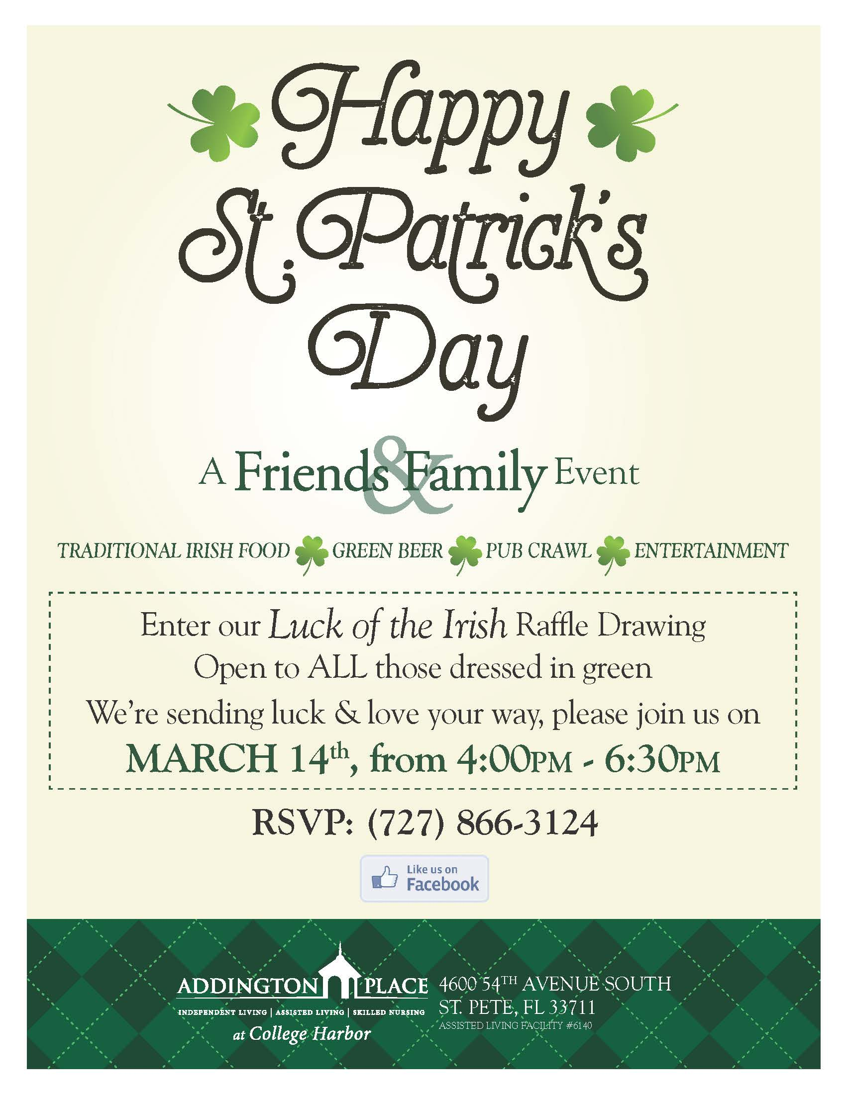 St. Patrick\'s Day Celebration | Addington Place at College Harbor