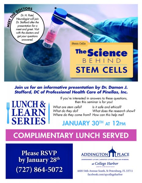 The Science Behind Stem Cells Lunch Amp Learn Addington